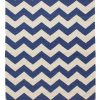 Navy Chevron Cotton Rug