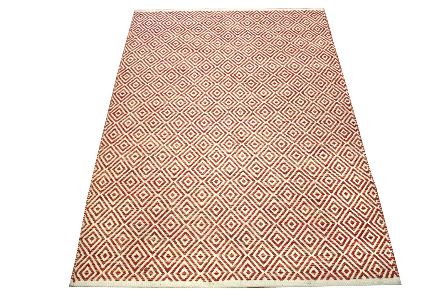 Squares Rust Modern Cotton Rug Rugspot